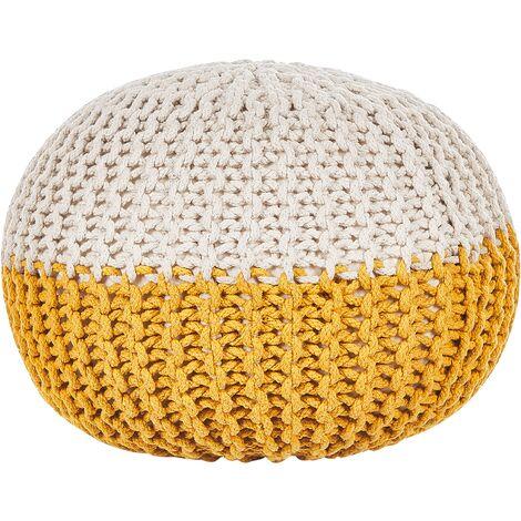 Modern Knitted Round Pouffe Ottoman Cotton Yellow Beige 50 x 35 cm Conrad
