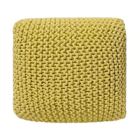 Modern Knitted Square Pouffe Ottoman Cotton Yellow 50 x 50 cm Conrad