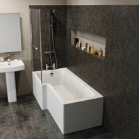 Modern L Shaped Shower Bath Only Left Hand Bathtub 1700 Acrylic