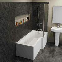 Modern L Shaped Shower Bath RH Front Panel Bathroom Tub 1700