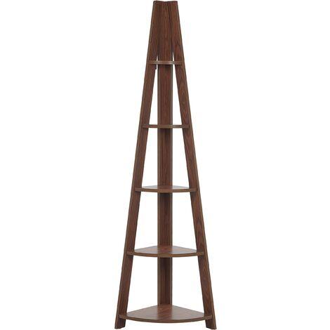 "main image of ""Modern Ladder Corner Shelf 4 Tiers Bookcase Dark Wood Mobile Solo"""