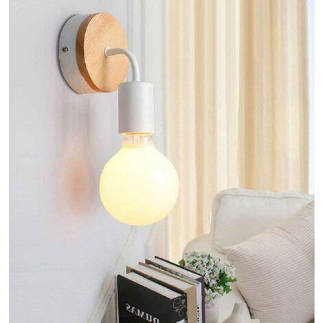 Modern Lampe Murale En Fer Forgé Bois Vintage Lampe De Sol E27 40w Applique Murale Lampe De Lecture Lampe De Chevet Pour Chambre à Coucher Blanc