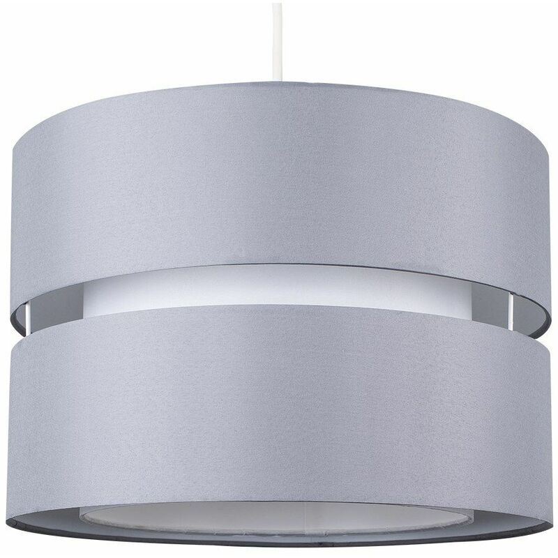 Voile Pendant Ceiling Shade 2 Tier Jewelled White