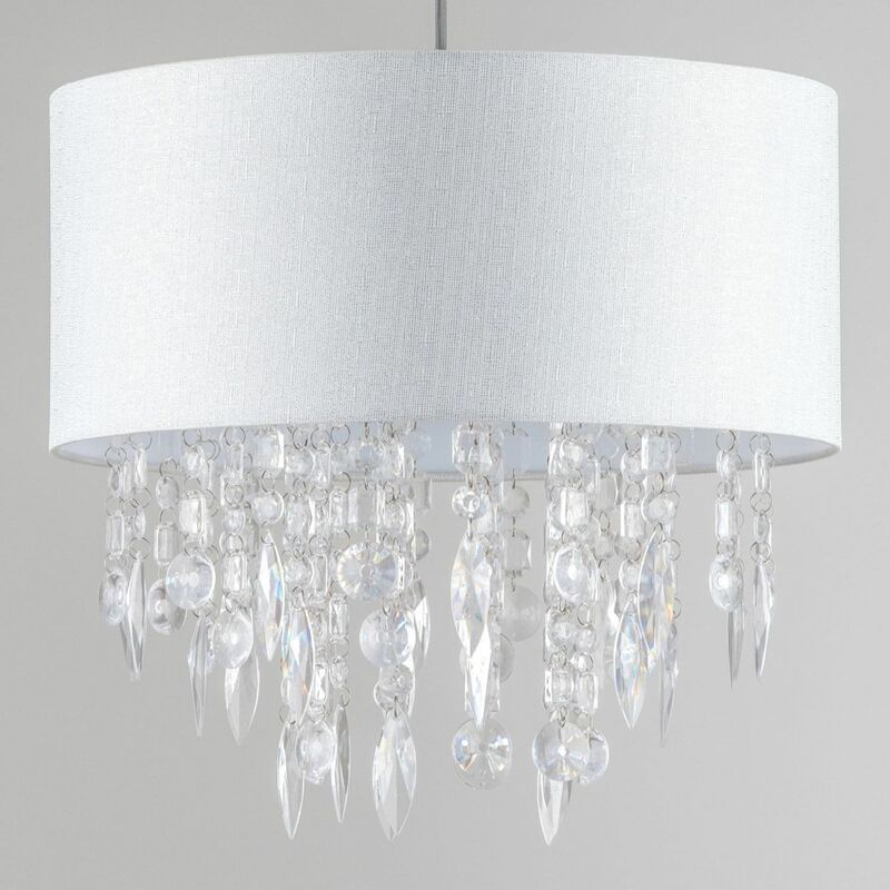 Details about Modern Large 40cm Easy Fit Jewelled Grey Ceiling Light Chandelier Lamp Shade
