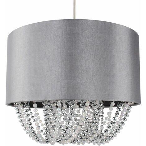 Modern Large 40cm Grey Faux Silk Easy Fit Jewel Ceiling Light Shade Chandelier