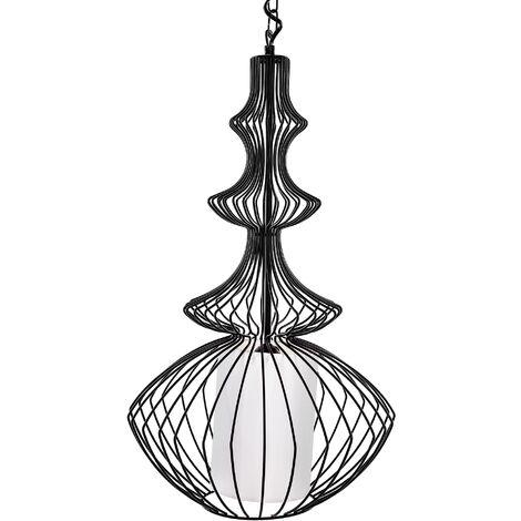 Modern Large Ceiling Pendant Lamp Light Metal Cage Black Kolva