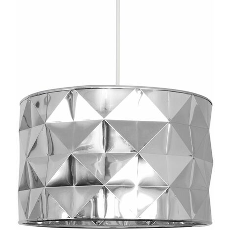 Minisun Geometric Chrome Ceiling Light Shade Easy Fit Pendant Lighting