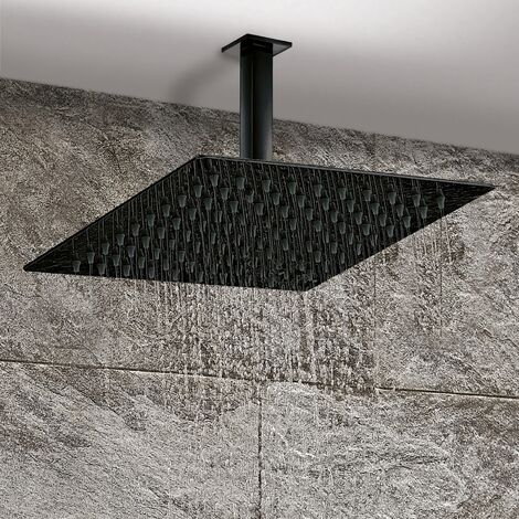 Modern Large Fixed Shower Head 300mm Rainfall Ceiling Arm Black Square Design