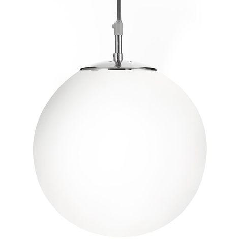 Modern Large White Opal Glass Glo Ball Globe Pendant Ceiling Light Fitting - LED Compatible