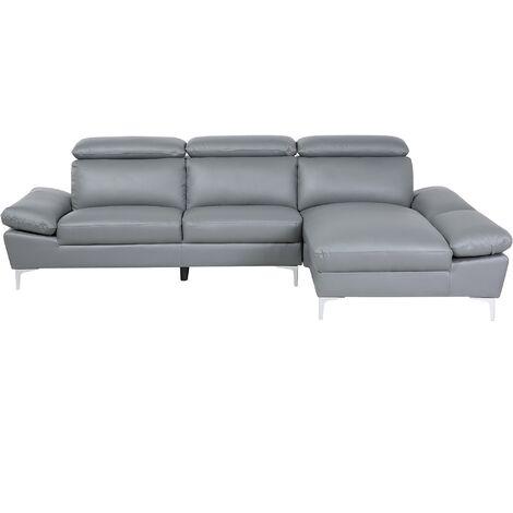 Modern Leather Left Hand Corner Sofa Upholstered 4 Seater Grey Farila