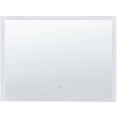Modern LED Bathroom Vanity Mirror Rectangular 60 x 80 cm Silver Adour