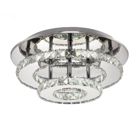 Modern LED Ceiling Lamp Luxury Clear Crystal Chandelier Round Double Layer Ceiling Lamp for Dining Room Bathroom Bedroom Living Room Cool White