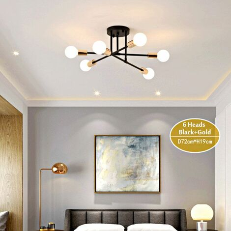 Modern LED Ceiling Light Bulb Home Living Room Bedroom Study Room Chandelier lighting 220V (black and gold, 6 heads)