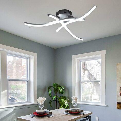 Modern LED Ceiling Light Curved Modern Creative Chandelier with 3 PCS Wave Shape Light Heads For Living Room Bedroom Dining Room (3 Lights Cold White)