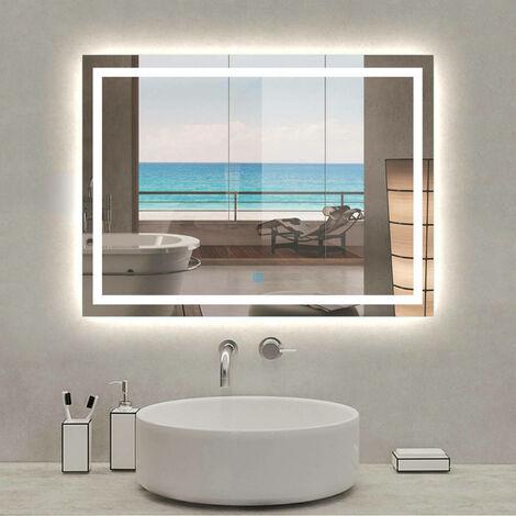 "main image of ""Modern LED Illuminated Bathroom Mirror 900 x 600 x 35mm Touch Sensor Demister Pad Heated"""