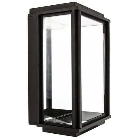 Modern LED Lantern Outdoor Wall Light with Black Frame and Mirrored Backplate by Happy Homewares