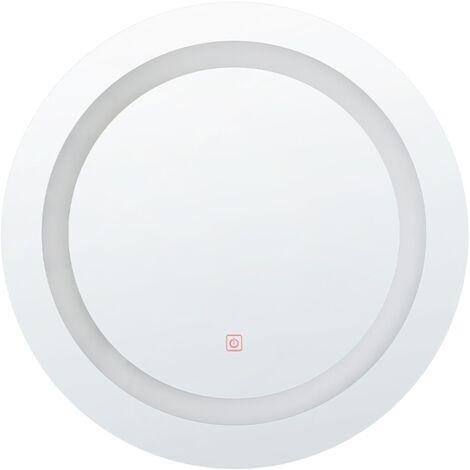 Modern LED Round Wall Mirror Bedroom Bathroom ø 58 cm Silver Selune