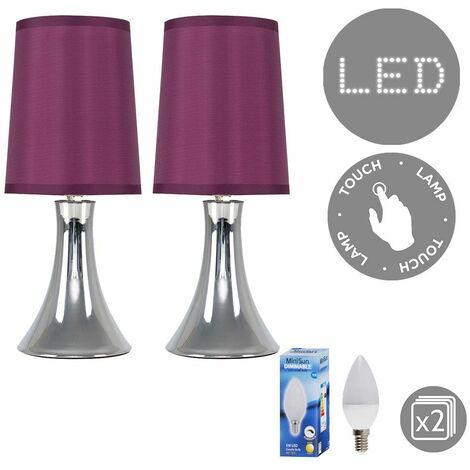 Modern LED Touch Table Lamp Pair Dimmable Chrome Bedside Lounge Light Shade LED - Purple - Silver