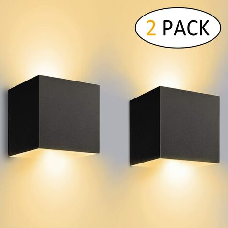 Modern LED Wall Lamp Creative Cube Wall Light Simple Chandelier Warm White for Corridor Loft Black 7W(2pcs)