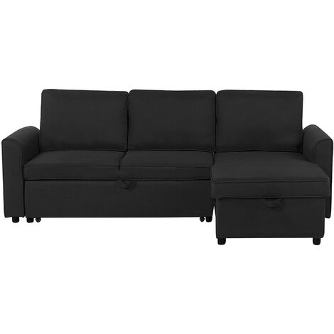 Modern Left Hand Fabric Corner Sofa Bed Storage Black Polyester Cushion Back Nesna