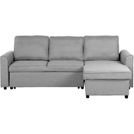 Modern Left Hand Fabric Corner Sofa Bed Storage Grey Polyester Cushion Back Nesna