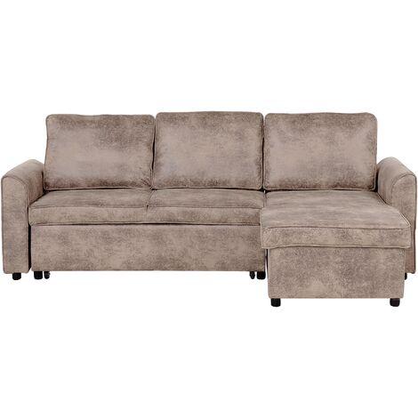 Modern Left Hand Faux Leather Corner Sofa Bed Storage Brown Cushion Back Nesna