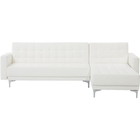 Modern Left Hand Faux Leather Corner Sofa Bed White Reclining Tufted Aberdeen
