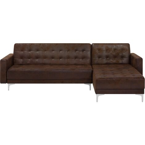 Modern Left Hand L-Shaped Corner Sofa Bed Brown PU Leather Tufted Aberdeen