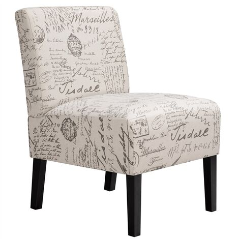 Modern Letter Print Dining Chair Comfy Accent Tub Chair Upholstered Side Chair Fabric Leisure Chair with Backrest for Dining/Living Room/Cafe