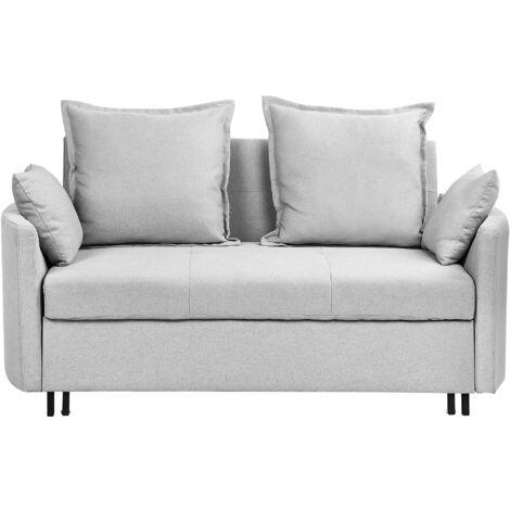 Modern Light Grey 2 Seater Sofa Bed Sleeping Function Profiled Armrests Hovin