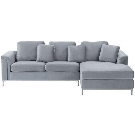 Modern Light Grey Velvet Couch Corner Sofa Silver Legs Left Hand Oslo