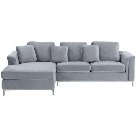 Modern Light Grey Velvet Couch Corner Sofa Silver Legs Right Hand Oslo