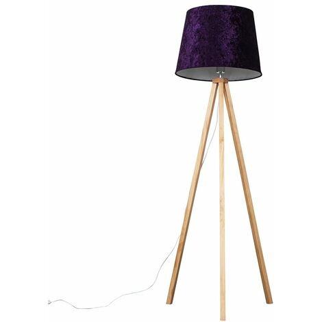 Modern Light Wood Tripod Floor Lamp with Tapered Shade + 6W LED GLS Bulb - Purple Velvet