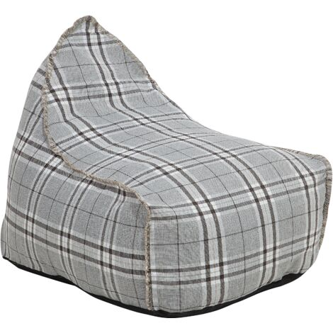 Modern Linen Bean Bag Chair Check Pattern Pouf Lounger EPS Bean Filling Grey Drop
