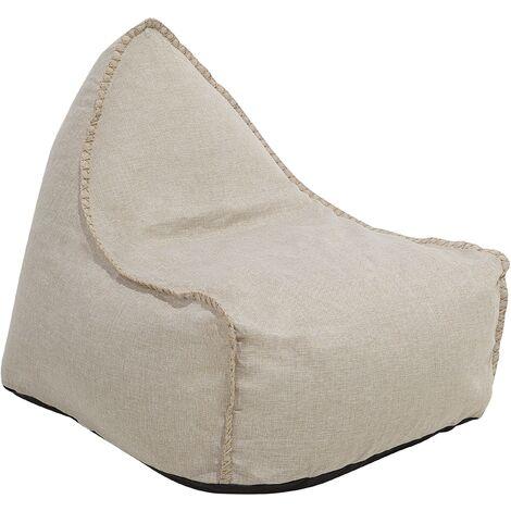 Modern Linen Bean Bag Chair Pouf Lounger EPS Bean Filling Beige Drop