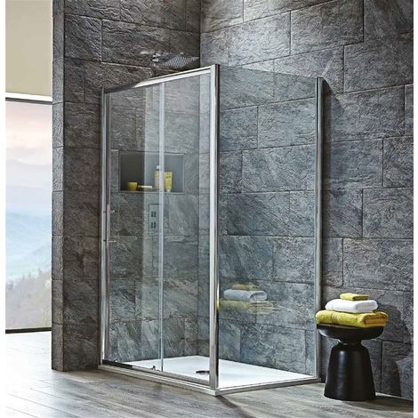 Modern Living - 1400 x 700mm 8mm Slider Shower Enclosure with Tray & Waste