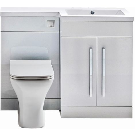 Modern Living Bathrooms - L Shape Furniture 1100mm WC Unit - Gloss White
