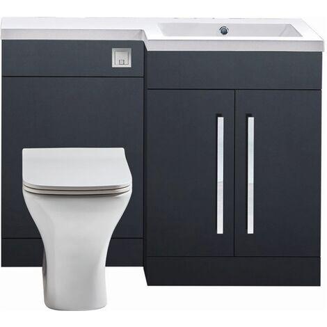 Modern Living Bathrooms - L Shape Furniture 1100mm WC Unit - Graphite Grey