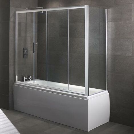 Modern Living Bathrooms - Lux8 Over Bath 8mm Single Sliding Door 1700mm - Glass