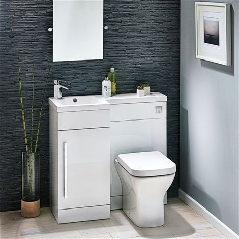 Modern Living - Lili 900 Complete Space saving L shaped bathroom suite - LH - White Gloss