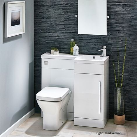 Modern Living - Lili 900 Complete Space saving L shaped bathroom suite - RH - White Gloss