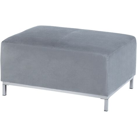 """main image of """"Modern Living Room Light Grey Velvet Ottoman Silver Stainless Steel Legs Oslo"""""""