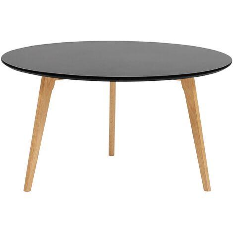 Modern Living Room Oval Coffee Table Black Tabletop Solid Wood Tripod Legs Tennessee