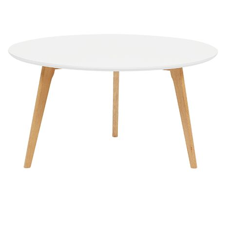 Modern Living Room Oval Coffee Table White Tabletop Solid Wood Tripod Legs Tennessee