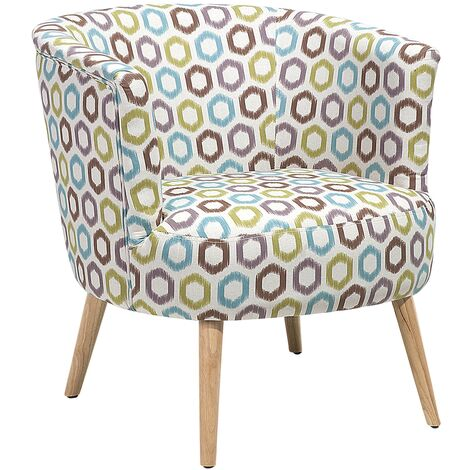 """main image of """"Modern Low Back Fabric Tub Accent Chair Living Room Geometric Pattern Odenzen"""""""