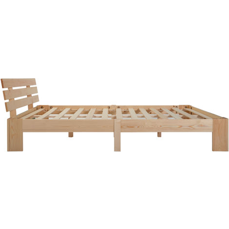 Modern Luxe wooden bed double bed wooden bed with headboard made of bed frame with slatted frame - 200 x 140 cm solid wood FSC solid double bed can be used as a pine bed, incl. Backrest (natural) B2B00914_DE