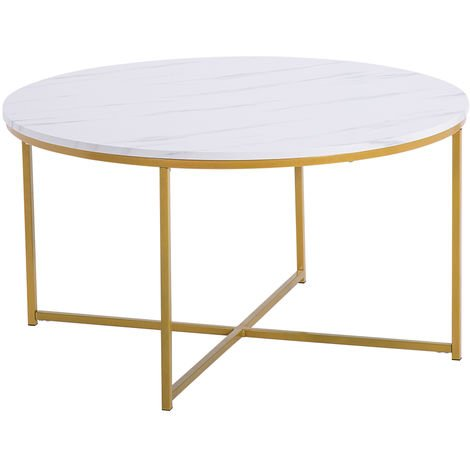 Modern Marble Simple MDF Metal Round Coffee Table Home Furniture