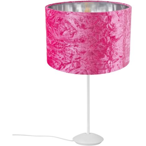 """Modern Matt White Stick Table Lamp with 12"""" Pink Crushed Velvet Lamp Shade by Happy Homewares"""