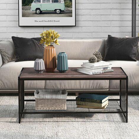 Modern Metal and Wood Corner Rectangle Coffee Table Living Room Ottoman Storage Shelf