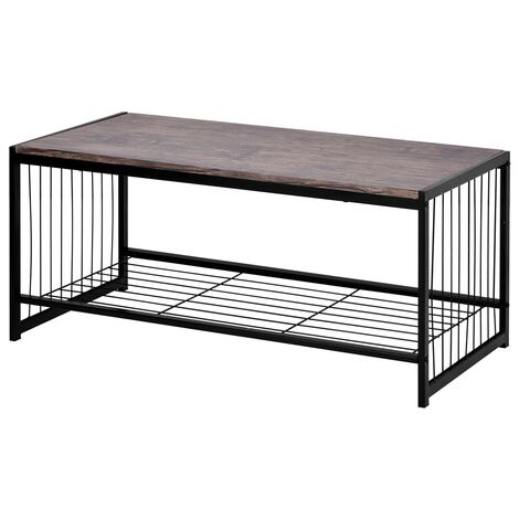 Modern Metal and Wood Corner Rectangle Coffee Table Living Room Ottoman Storage Shelf Cocktail Table TV Table End Table Console Table Shoe Bench